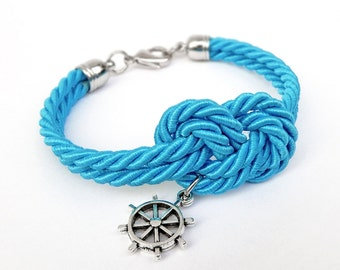 Blue Turquoise Rope Knot Bracelet with Silver Ship Wheel Charm, Nautical Bracelet,  Silk Rope Bracelet, 12 Colors available