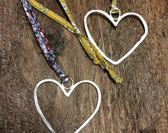 Liberty Fabric Ribbon Heart Necklace