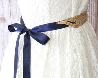 Gold Metallic Lace with Navy Satin Sash , Bridal Sash, Bridesmaid Sash, Flower Girl Gold Sash Belt,GSH-31