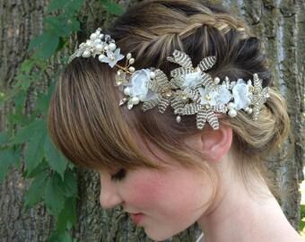 Crystal Bridal Wreath, Wedding Hair Vine,  Woodland Wedding, Floral Bridal Crown, Fairy Crown,