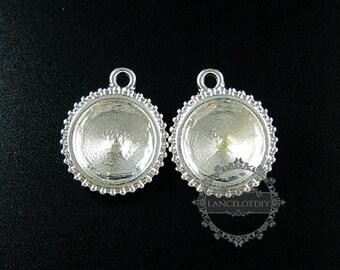 6pcs 14mm setting size vintage alloy silver plated DIY pendant charm bezels tray 1411124