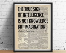EINSTEIN Quote Art Print Poster Inspirational Black White Typography Antique Phrenology Heads Dictionary Book Page 8x10 A3 +More Sizes