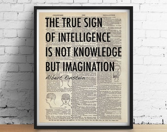 EINSTEIN Quote Poster, Art Print Black White Typography, Antique Phrenology Head Anatomy Brain Dictionary Book Page 16x20 24x36 More Sizes