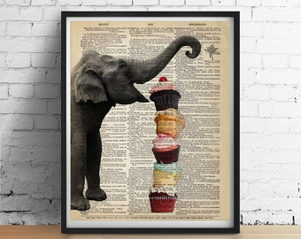 ELEPHANT Cupcakes Art Print Party Cake Animal Print Illustration Kitchen Cafe Wall Decor Poster Antique Dictionary Book Page 8x10 More Sizes