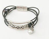 Remembrance Heart Urn Leather Bracelet - In Memory of Addison Ann - Custom - Cremation Jewelry - Memorial Jewelry