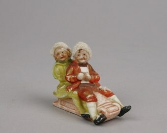 Vintage Children on a Sled, Small Ceramic marked 2236, Snow Texture, Possibly German