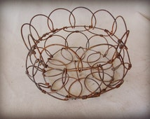 Rusty Wire Folding Basket -French Egg Basket