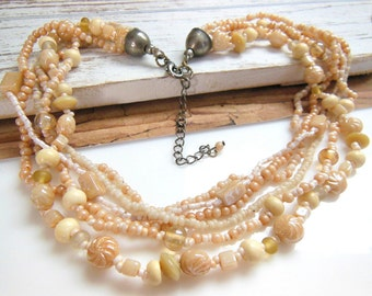 Vintage Peach & Cream Glass Bead Multi-Strand Torsade Choker Necklace UU41