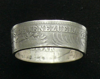 Ladies Silver Coin Ring 1935 Venezuela 1 Bolivar, Ring Size 7 and Double Sided