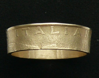 Bronze Coin Ring 1988 Italy 200 Lire , Ring Size 9 1/2 and Double Sided