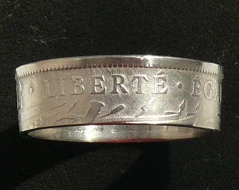 1908 Haiti 50 Centimes coin ring featuring Liberty,Fraternity and Equality, Ring Size 13 and Double Sided