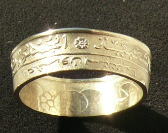 1972 Algeria 20 Santima Bronze Coin Ring, Ring Size 7 and Double Sided
