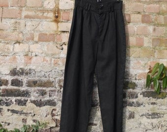 1950s style black linen trousers