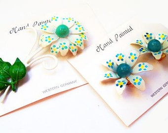 Polka Dot Brooch Earring Set Signed W. Germany White Flowers Yellow Blue Green Hand Painted NOS Vintage 1960s