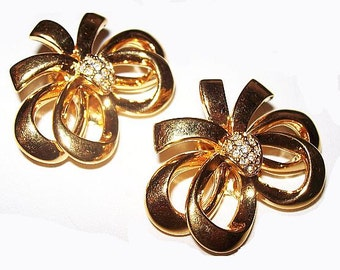 "Ribbon Bow Earrings Signed W & D Clear Rhinestones Gold Plated Metal 1.5"" Vintage"