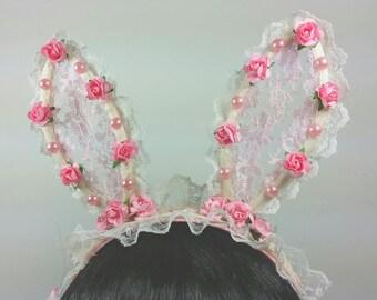Lolita Bunny Headband- Lolita Accessories-Amaloli- Fairy Kei- Lolita Headband-Pink-Cosplay- Lolita-Lolita Fashion-Harajuku
