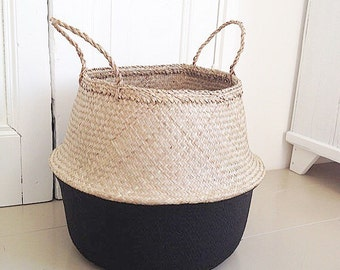 Large seagrass basket storage nursery for Toy of laundry , panier boule