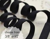 "black, organic cotton - double fold, bias tape - 3 yards, CHOOSE 3/8"" or 1/2"" wide"