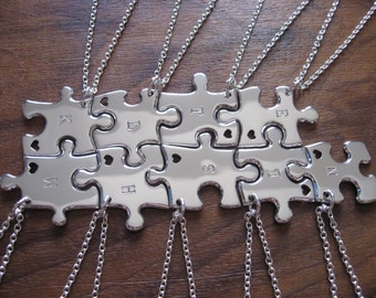 Nine Puzzle Pendants with Initials and hearts