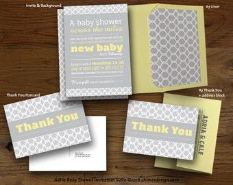 ADRIA Virtual Long-Distance Baby Shower Invitation Suite Printables