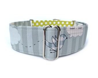 "Tweet Quilt Dog Collar - Adjustable 1"" or 1.5"" Collage Birds, Gray Stripes, Citron Polka Dots Martingale Collar or Buckle Dog Collar"