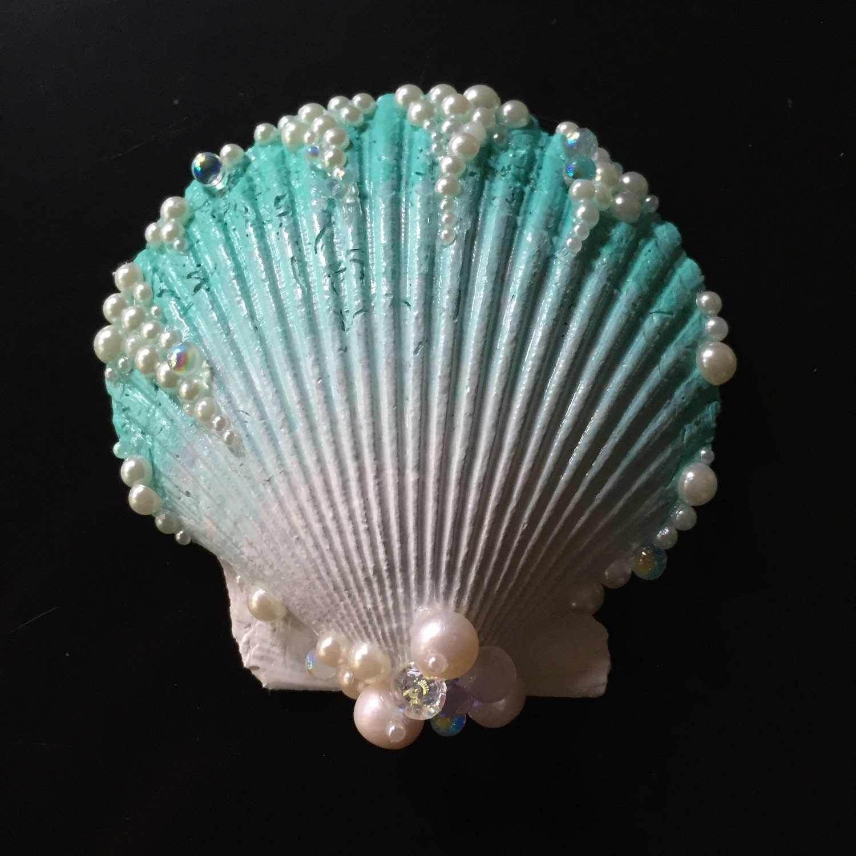 Aqua Seashell Hair Clip by LandlockedM3rmaid on Etsy