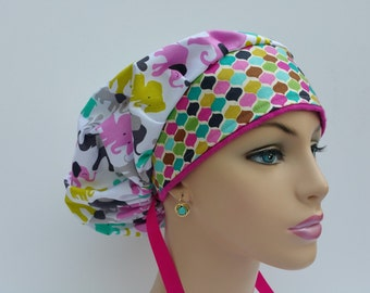 Bouffant Cap/Medical Cap/Surgical Scrub Hat - Baby Elephants -100% cotton