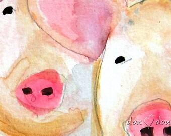 Two Pigs  - Art print of Original Watercolor Painting - 8x10 Pig Art