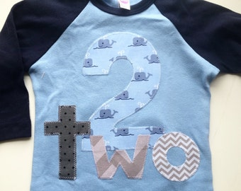 Nautical Second 2 Birthday Chevron whales gray navy blue baseball modern  gift photo prop birthday party