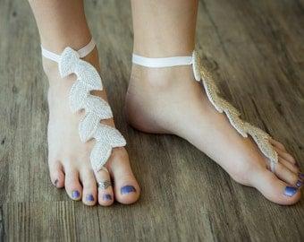 Summer, Beach, Cruise, Wedding, Yoga, Beaded Leaf barefoot sandals.