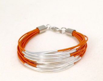 Orange Thin Leather Bracelet with Silver Tube Accents