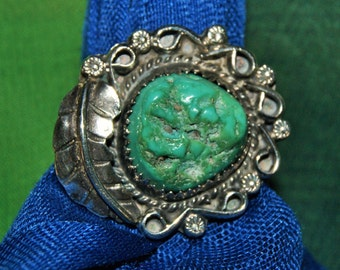 EARLY NAVAJO TURQUOISE Ring Sterling c1960