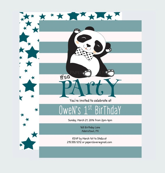 panda bow tie birthday invitation by