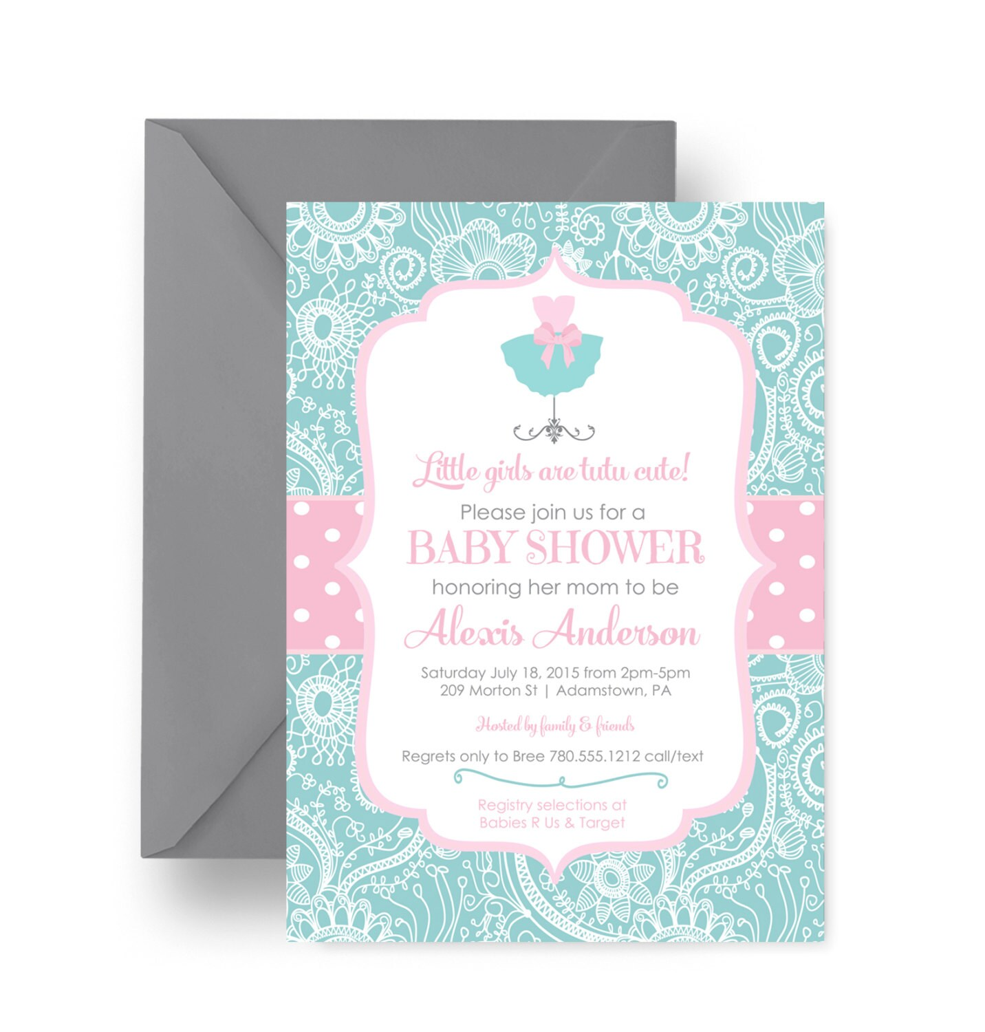tutu baby shower invitation cute pink polka by papercleverparty
