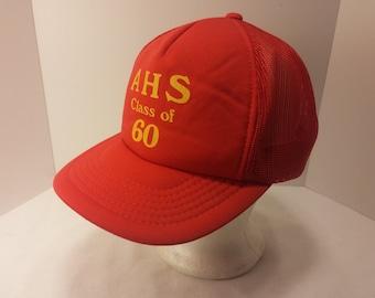 Vintage 1980s Trucker Ball Cap - AHS Class of 60 - Class of 1960, High School, Missouri, Rockabilly, Retro, Mens Accessories