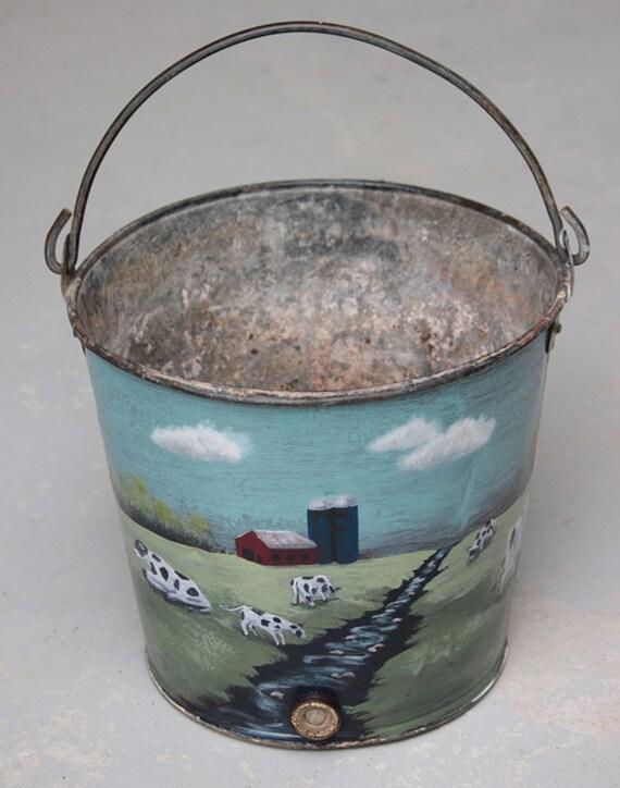 Hand painted Vintage Calf Bucket, Ice bucket,  Farm art, Holstein cattle mini mural, planter, beverage cooler, chiller