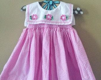 Vintage pink gingham flower dress and bloomer set 6-12 months
