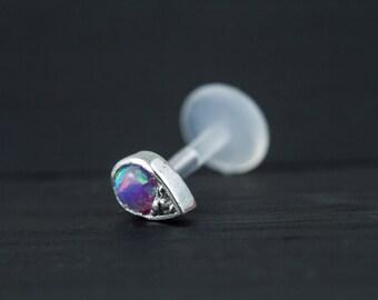 Purple Opal in teardrop shape casting push in 16g bio flexible tragus /forward helix / lip / medusa piercing