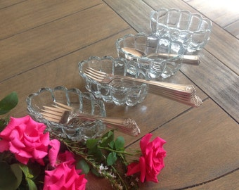Set of 4 Pretty Vintage Glass Spoon and Fork Holders // Coffee Bar and Cocoa Bar Stations