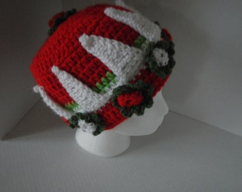 Christmas Fairy Hat Hand Flowers Red and Green and Crown Hand Crocheted