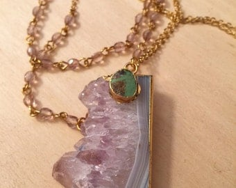 Amethyst Pendant with Turquoise Stone on Gold Plated Chain and Light Pink Rosary