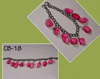 CB-18K CB-29 hot pink magnesite beaded charm bracelet
