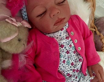 Completed Bi Racial Janay Completed Reborn Baby Doll from the Baylee 21 inch kit