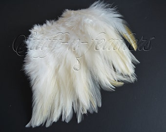 Ivory Rooster saddle feathers, small soft feather for wedding bridal accessories, millinery, crafts, jewelry making, 4 in (10cm) long/ F62-4