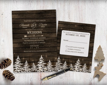 printable pine trees wedding invitations camping wedding invitesrustic wedding invitation winter wedding - Camping Wedding Invitations