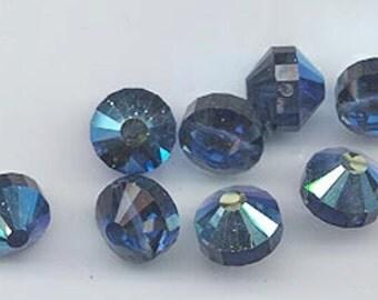 Wow - 12 vintage Swarovski crystal beads: Art. 5101 - 7 mm - montana blue AB