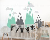 Mountain Wall Decal   Woodland Mountain Nursery Decor   Triangle Mountains for Kids Rooms   Vinyl Wall Decal   Easy Application 153