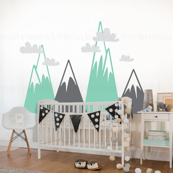 Mountain wall decal woodland mountain nursery decor for Diy mountain mural