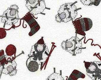 Timeless Treasures - Tossed Knitting Sheep - White - Novelty Fabric - Choose Your Cut 1/2 or Full Yard