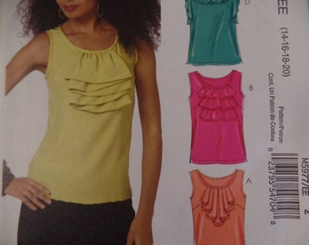 Easy UNCUT Size 14-20-- Sleeveless Scoop Neck Tank Top With Ruffles McCall's Sewing Pattern M5977 - Women's Summer Tops